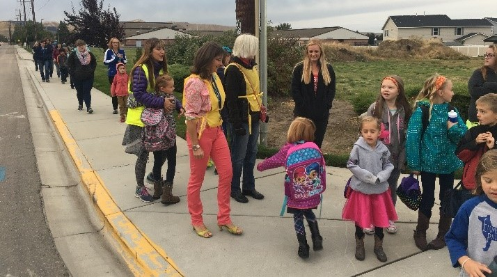 Students in Emmett turned out in large numbers to participate in Walk to School Day.